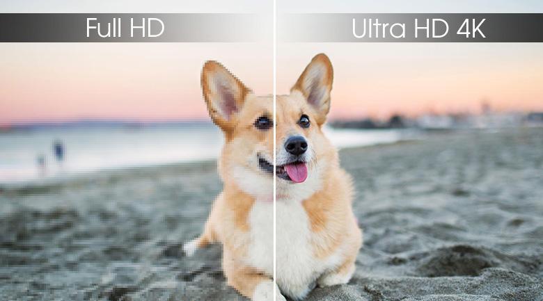 Độ phân giải Ultra HD 4K cho độ sắc nét của hình ảnh lên gấp 4 lần so với tivi Full HD thông thường