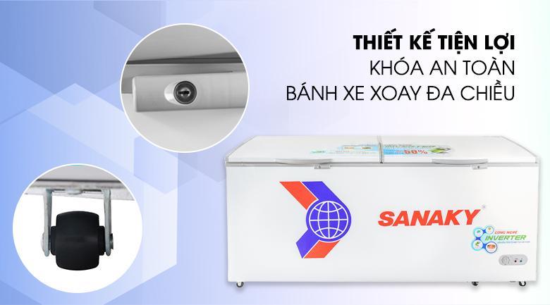 Tích hợp tiện ích khóa cửa để người dùng khóa mở tủ dễ dàng - Tủ đông Sanaky VH-8699HY3