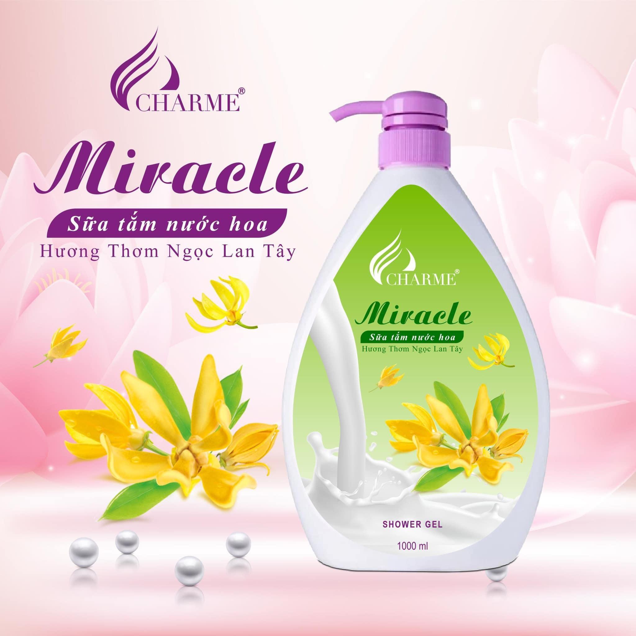 Sữa Tắm Nước Hoa Charme Miracle 1000ml Cho Nữ Hương Ngọc Lan Tây