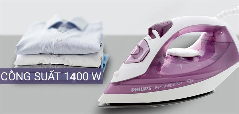 Công suất mạnh mẽ - Bàn ủi hơi nước Philips GC1426/37 Tím
